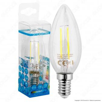 SkyLighting Lampadina LED E14 2W Candela a Filamento