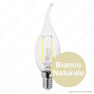 SkyLighting Lampadina LED E14 2W Candela Fiamma a Filamento