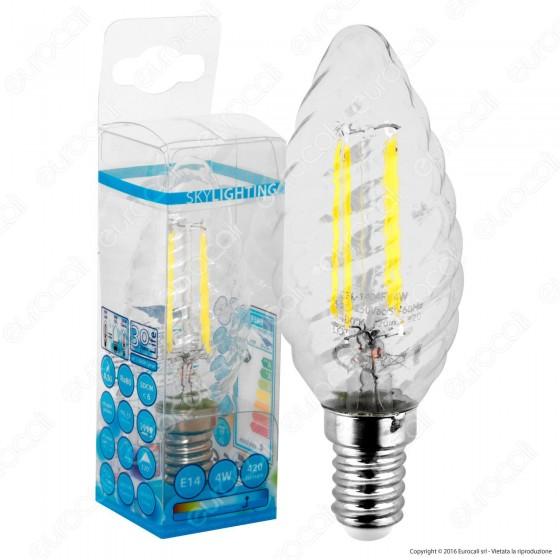 SkyLighting Lampadina LED E14 4W Candela Twist a Filamento
