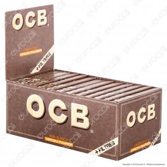 Cartine Ocb Virgin Paper Senza Cloro Corte 1¼ e Filtri in Carta - Scatola da 50 Libretti