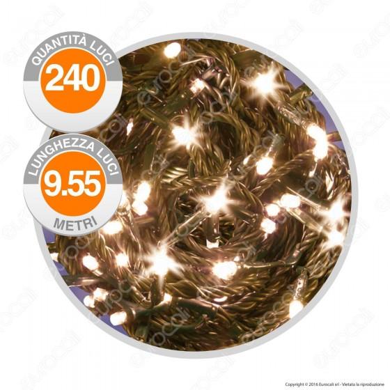 Catena 240 Luci LED Reflex Colore Bianco Caldo IP44 a Batterie con Controller Memory