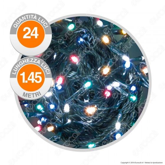 Catena 24 Luci LED Reflex Multicolore IP44 a Batterie con Controller Memory - Interno & Esterno