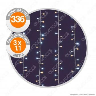 Tenda Luminosa 336 Luci LED Reflex Bianco Caldo & Freddo IP44 con Controller Memory - Interno & Esterno