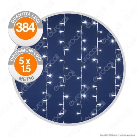 Tenda Luminosa 384 Luci LED Reflex Bianco Freddo IP44 con Controller Memory - Interno & Esterno