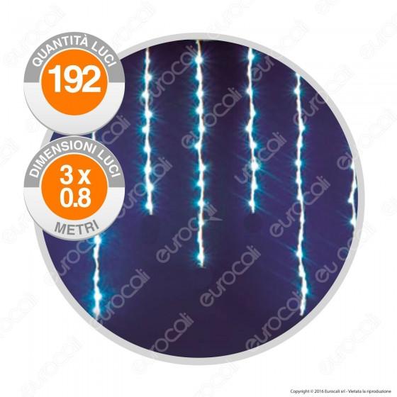 Stalattiti Luminose 192 Luci LED Reflex Bianco Freddo IP44 con Controller Memory - per Interno e Esterno