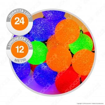 Catena 24 Sfere LED Colorate IP44 con Controller Memory - per Interno e Esterno