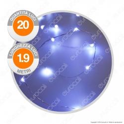 Catena Anima in Metallo con 20 Microluci LED Bianco Freddo a Batterie - per Interno