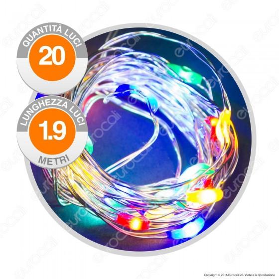 Catena Anima in Metallo con 20 Microluci LED Multicolore a Batterie - per Interno
