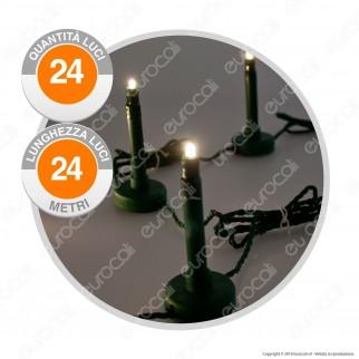 Catena 24 Bastoncini Luminosi LED per Giardino Reflex Bianco Caldo - per Esterno