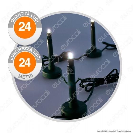 Catena 24 Bastoncini Luminosi LED da Giardino Bianco Freddo - per Esterno