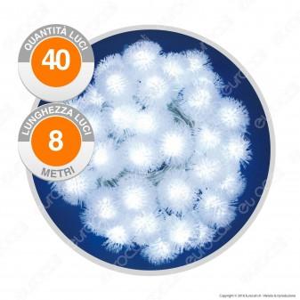 Catena 40 Sfere LED Soffici Bianco Freddo con Controller Memory - per Interno e Esterno