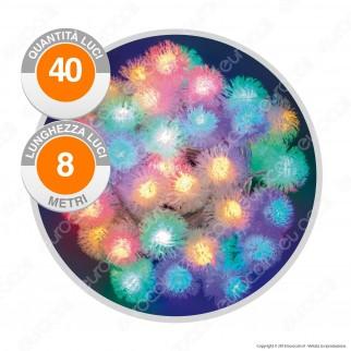 Catena 40 Sfere LED Soffici Multicolore con Controller Memory - per Interno e Esterno