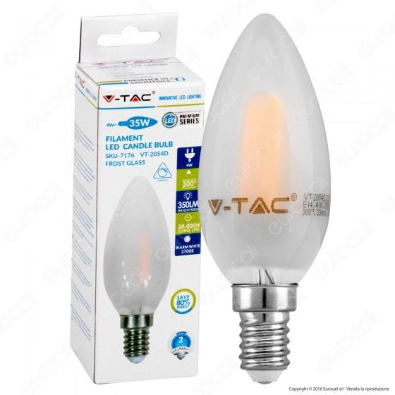 V-Tac VT-2054D Lampadina LED E14 4W Candela White Filamento Dimmerabile - SKU 7176