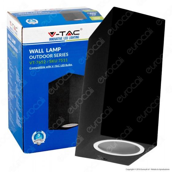 V-Tac VT-7652 Portalampada Doppio Wall Light da Muro per 2 Lampadine GU10 - SKU 7511