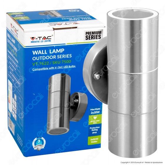 V-Tac VT-7622 Portalampada Doppio Wall Light da Muro per 2 Lampadine GU10 - SKU 7500