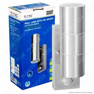 V-Tac VT-7621PIR Portalampada Doppio Wall Light da Muro per 2 Lampadine GU10 con Sensore - SKU 7503