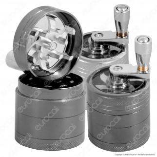 Grinder Mini Tritatabacco 4 Parti in Metallo - con Manovella