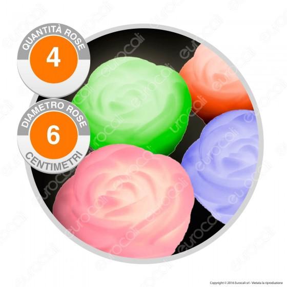 Set 4 Roselline LED Tealight Luminose Multicolor