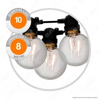 Catena Party 10 Lampadine LED Globo G80 Filament Bianco Caldo - per Interno e Esterno