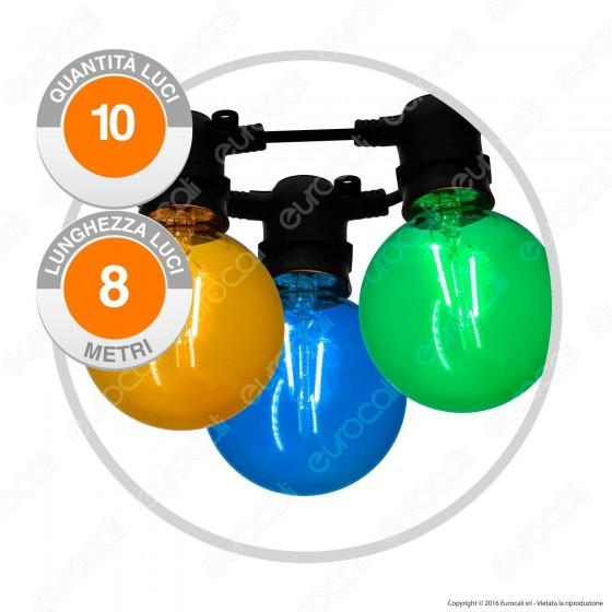 Catena 10 Lampadine LED Globo G80 Filament Multicolor - per Interno e Esterno