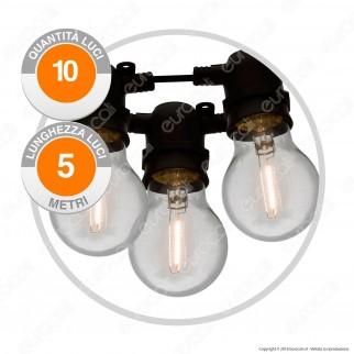 Catena Party 10 Lampadine LED Bulb A60 Filament Bianco Caldo - per Interno e Esterno