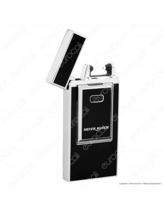Silver Match Accendino USB in Metallo Antivento Ricaricabile con Arco al Plasma - 1 Accendino