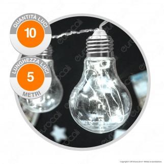 Catena Party 10 Lampadine LED Bianco Freddo - per Interno e Esterno