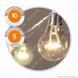 Catena Party 10 Lampadine LED Bianco Caldo THL 24V - per Interno e Esterno