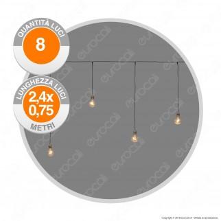 Stalattiti Party 8 Lampadine LED Bianco Caldo - per Interno e Esterno