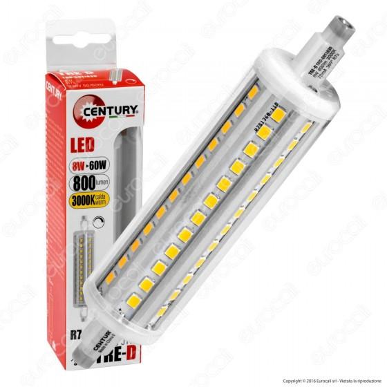 Century TRE-D Lampadina LED R7s J118 8W Bulb Tubolare Dimmerabile