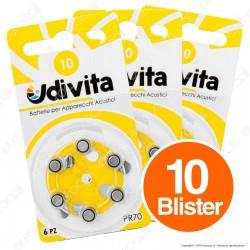 Udivita Misura 10 - 10 Blister da 6 Batterie per Protesi Acustiche ⭐️PROMO 3X2⭐️