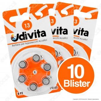 Udivita Misura 13 - 10 Blister da 6 Batterie per Protesi Acustiche ⭐️PROMO 3X2⭐️