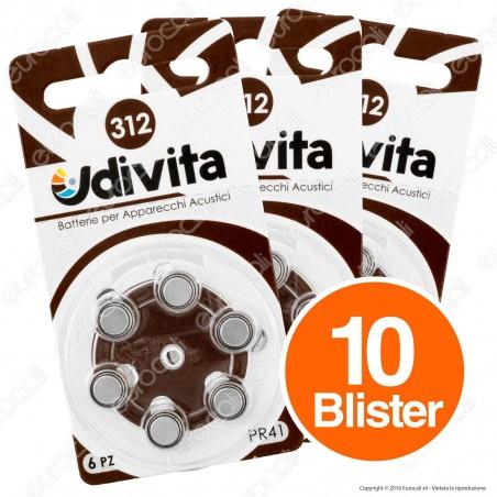 Udivita Misura 312 - 10 Blister da 6 Batterie per Protesi Acustiche ⭐️PROMO 3X2⭐️