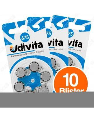 Udivita Misura 675 - 10 Blister da 6 Batterie per Protesi Acustiche ⭐️PROMO 3X2⭐️