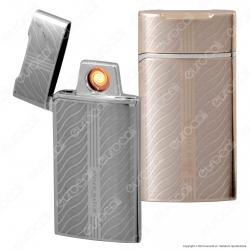 Silver Match Accendino USB in Metallo Antivento Ricaricabile - 1 Accendino