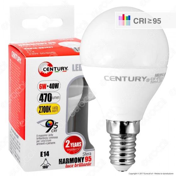 Century Harmony 95 Lampadina LED E14 6W MiniGlobo P45 CRI ≥95