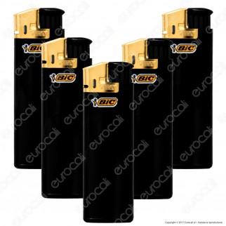 Bic Maxi J38 Elettronico Grande Nero e Oro - 5 Accendini