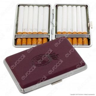 Bravo Astuccio Porta Sigarette in Metallo e Pelle