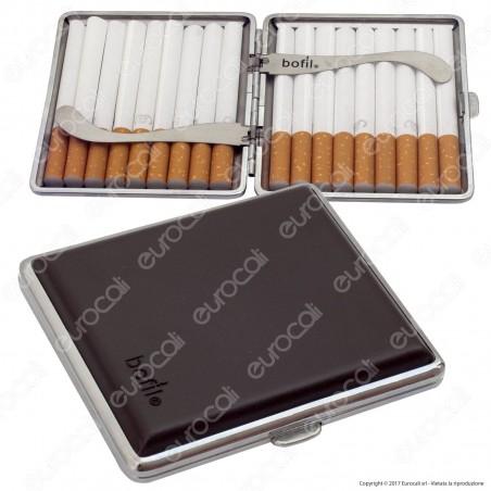Bofil Astuccio Porta Sigarette in Metallo ed Ecopelle