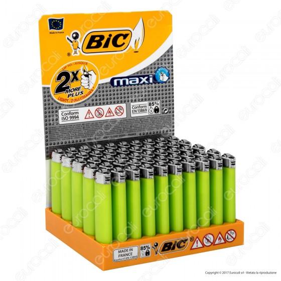 Bic Maxi J26 Grande Tinta Unita Colore Verde - Box Da 50 Accendini