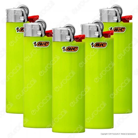 Bic Maxi J26 Grande Tinta Unita Colore Verde - Serie di 5 Accendini