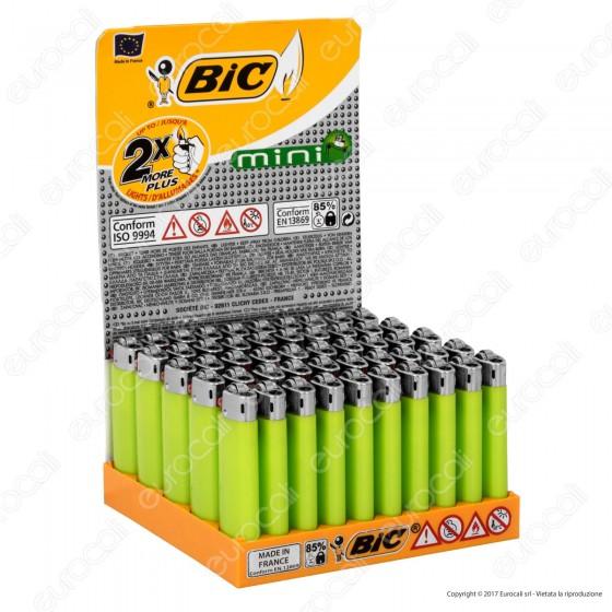 Bic Minii J25 Grande Tinta Unita Colore Verde - Box Da 50 Accendini