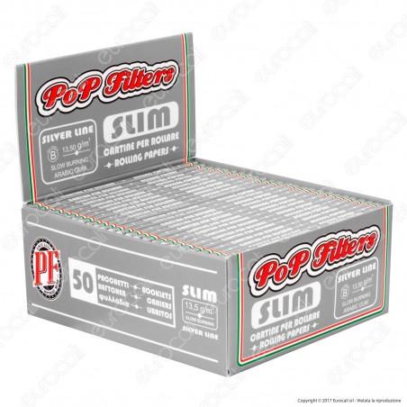 Cartine Pop Filters King Size Slim Italia Silver Line Lunghe - Scatola da 50 Libretti