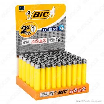 Bic Maxi J26 Grande Monocromo Colore Giallo - Box di 50 Accendini