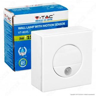 V-Tac VT-8035 Punto Luce LED da Incasso Quadrato 3W con Sensore di Movimento - SKU 5570