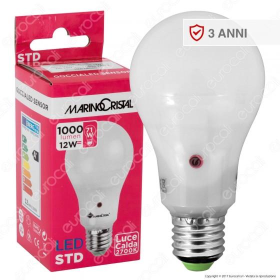 Marino Cristal Serie STD Lampadina LED E27 12W Bulb A65 con Sensore Crepuscolare