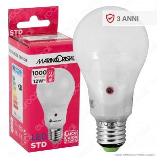 Marino Cristal Serie STD Lampadina LED E27 12W Bulb A65 con Sensore Crepuscolare - mod. 21200 / 21201