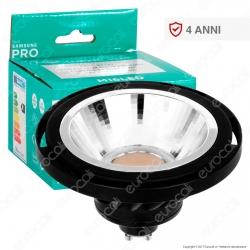 Marino Cristal Serie PRO Lampadina LED GU10 16W Faretto Spotlight Nero AR111