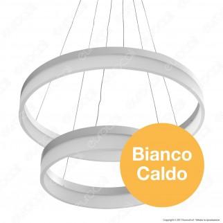 V-TAC VT-70-2 Lampadario LED Anello Doppio 70W Sospensione in Metallo Bianco - SKU 3870