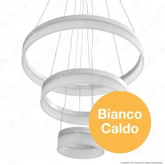 V-TAC VT-80-3 Lampadario LED Anello Triplo 80W Sospensione in Metallo Bianco - SKU 3871